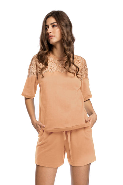 Sunday Brunch Short Sleeve Top in Camel - I.D. Sarrieri