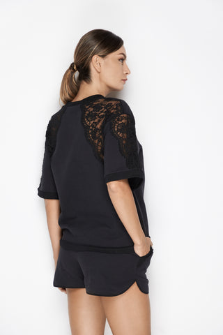 After Hours Short Sleeve Top in Black