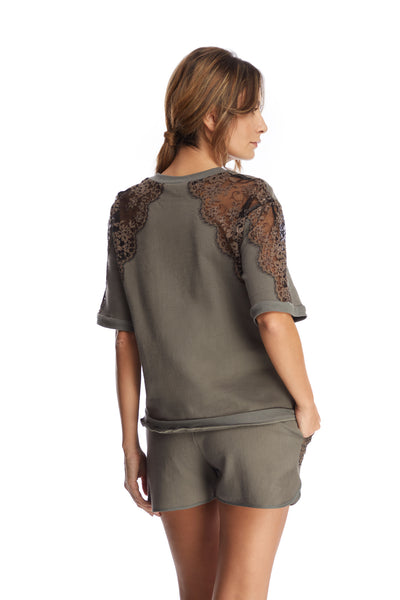 I.D. Sarrieri cotton and lace short sleeve top grey
