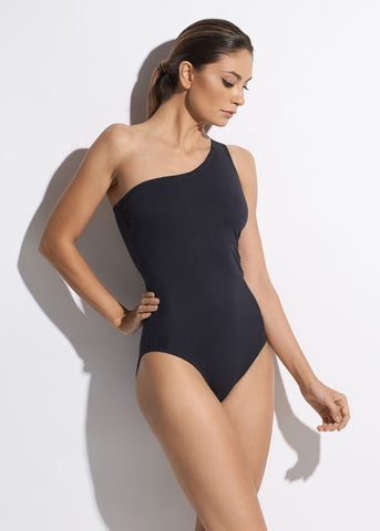 Summer On My Mind One Shoulder Swimsuit in Anthracite