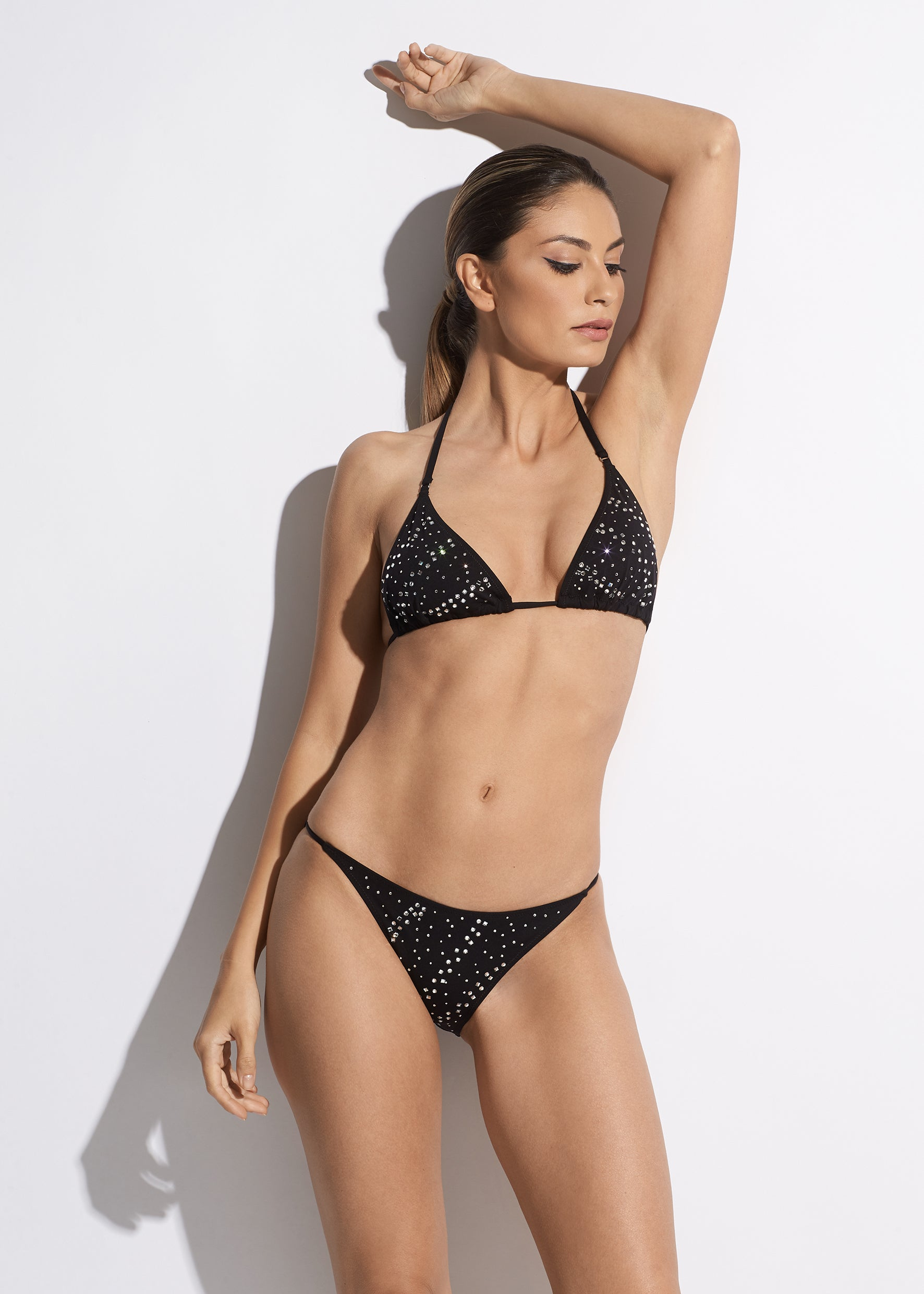 La Muse Triangle String Bikini Top in Black