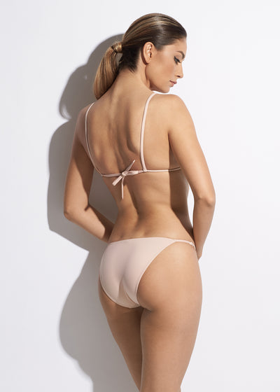 La Muse Triangle String Bikini Top in Nude