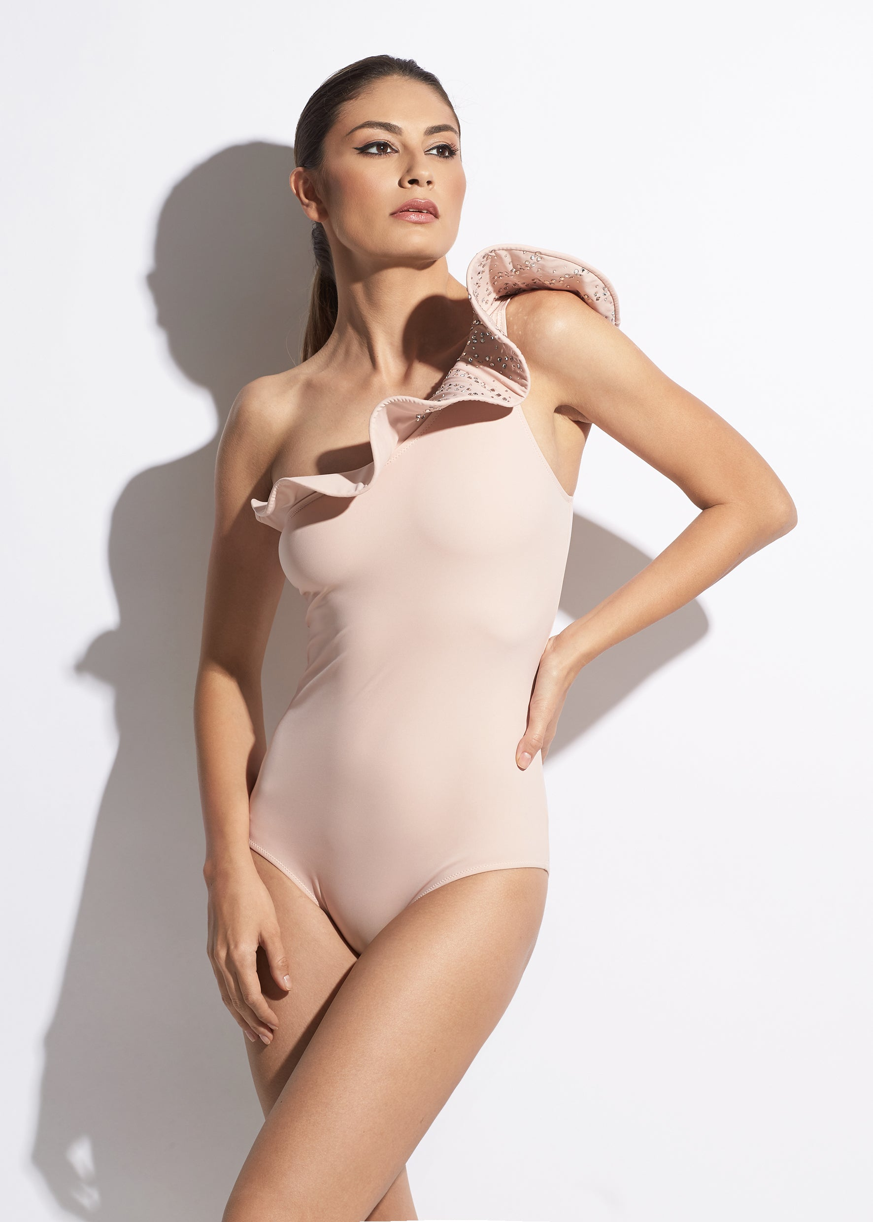 La Muse One Shoulder Ruffle Swimsuit in Nude