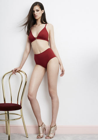 Elite Racer Back Triangle Bikini Top in Scarlet Red