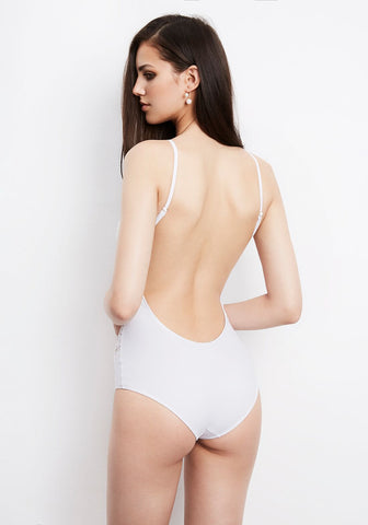 Elite Open Back Swimsuit in White