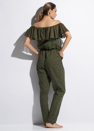 Esprit de Soleil Off The Shoulder Cotton Jumpsuit in Olive