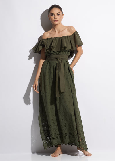 Esprit de Soleil Off The Shoulder Long Cotton Dress in Olive