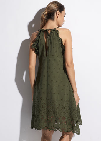 Esprit de Soleil Midi Cotton Dress in Olive