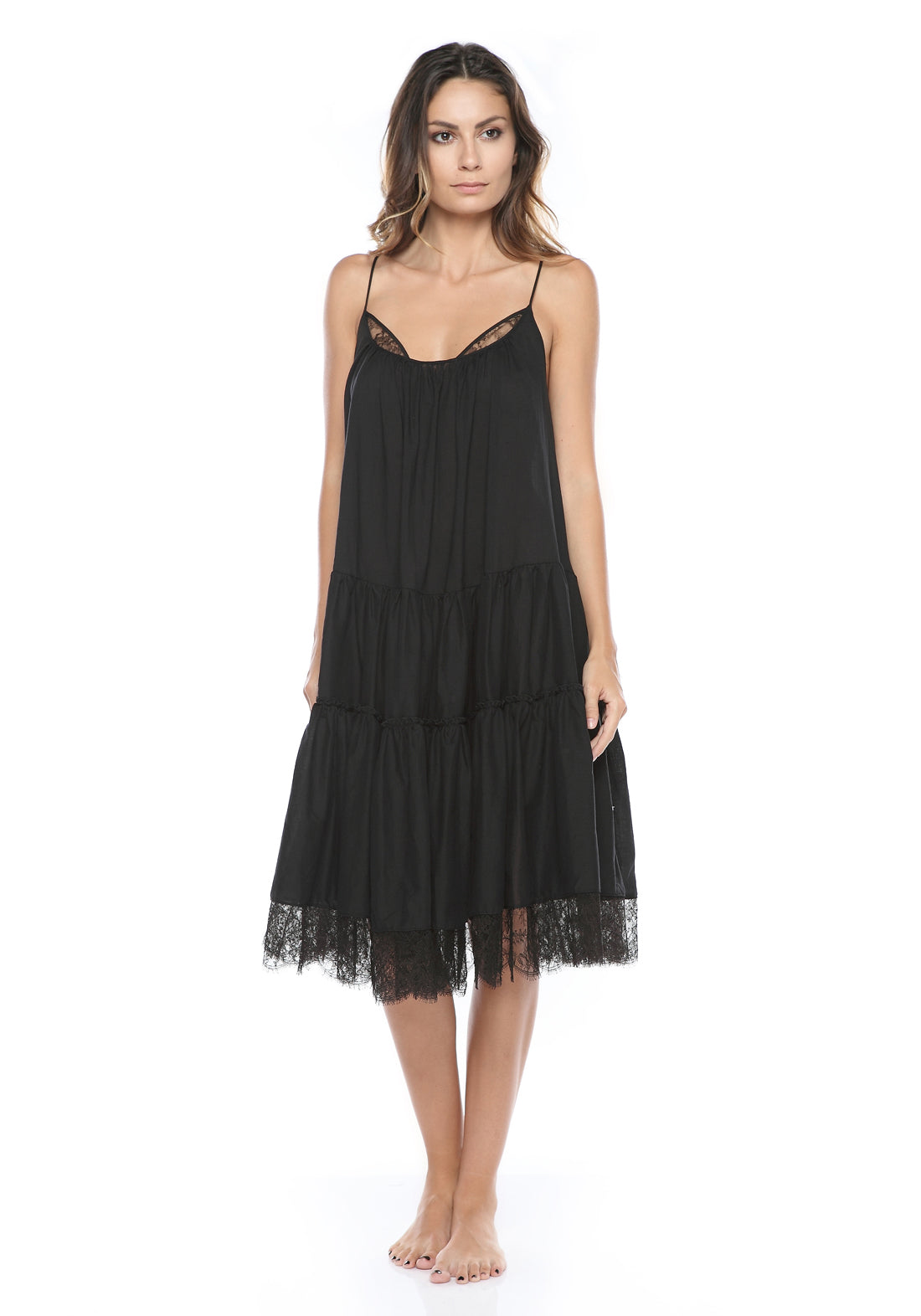 Paradiso Midi Cotton Dress With Lace in Black