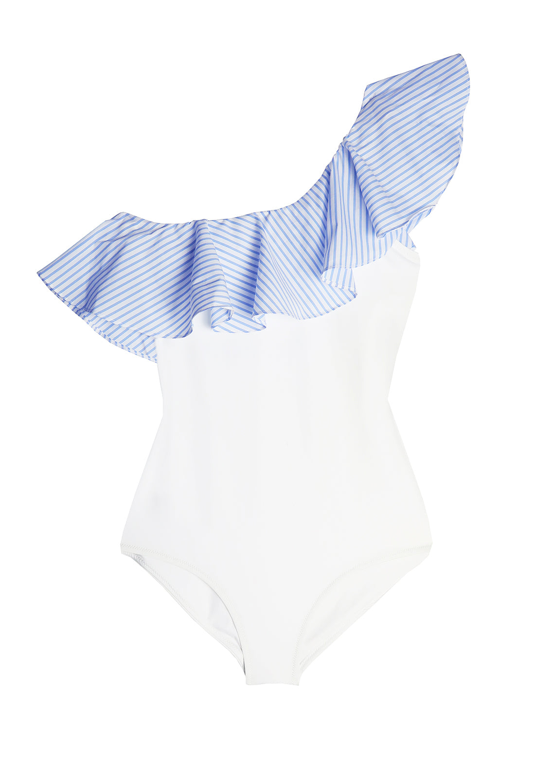 Fleur à la Plage Ruffled Swimsuit in Vanilla/Aqua