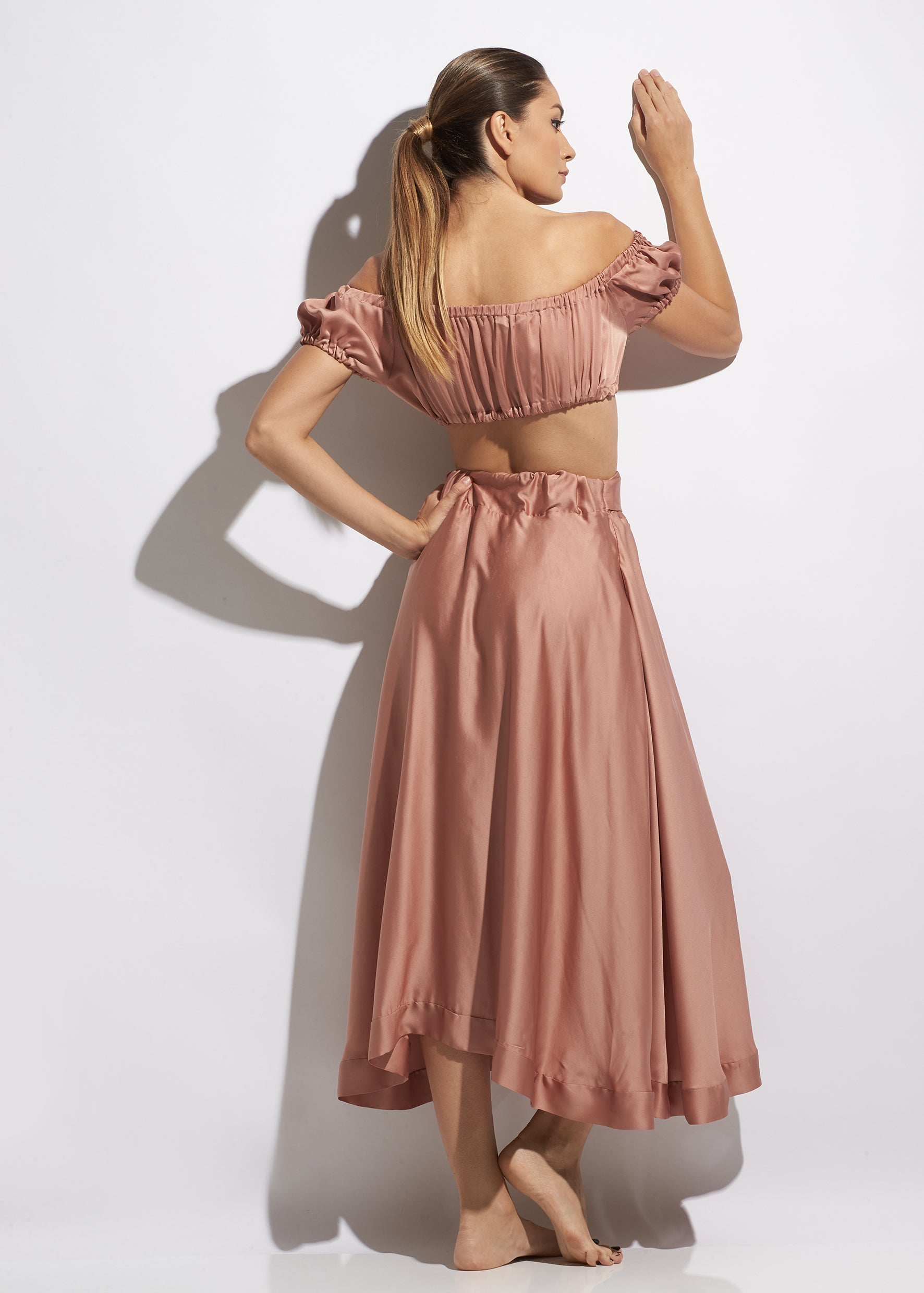 Summertime Delight Silk Midi Skirt in Rose Antique