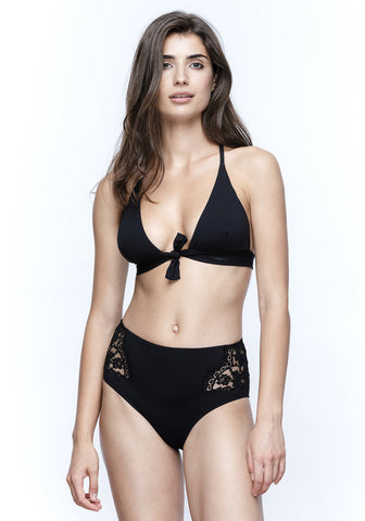 Nights in Santa Monica Cut Out Bikini Top in Black