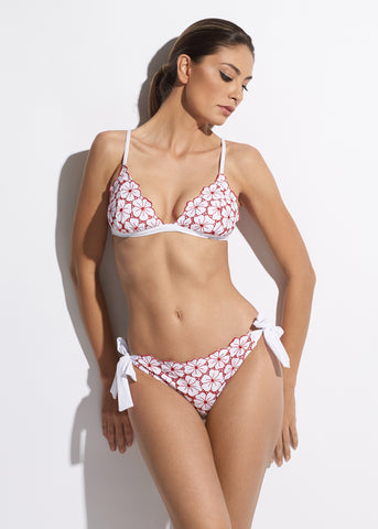 La Dolce Vita Embroidered Padded Bikini Bra in White/Red