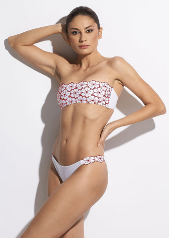 La Dolce Vita Bikini Brief in White/Red