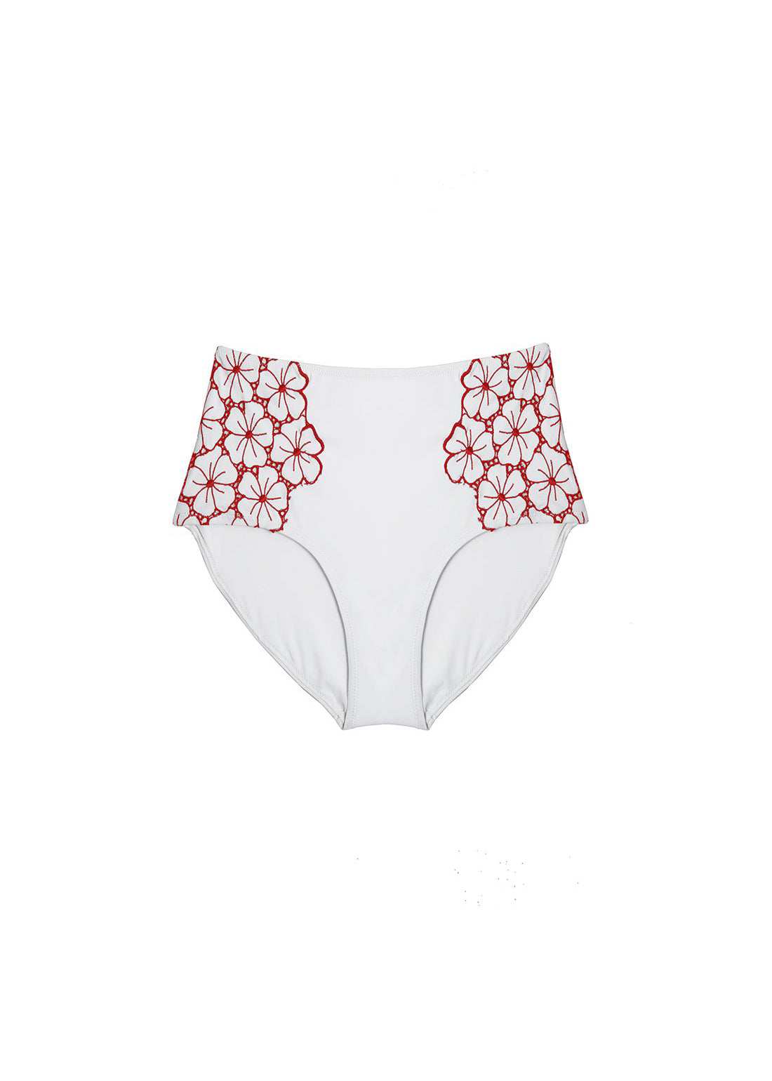 La Dolce Vita High Waist Bikini Brief in White/Red