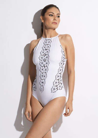 La Dolce Vita Halterneck Swimsuit	 in White/Navy