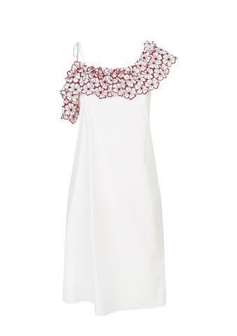 La Dolce Vita One Shoulder Midi Dress in White/Red