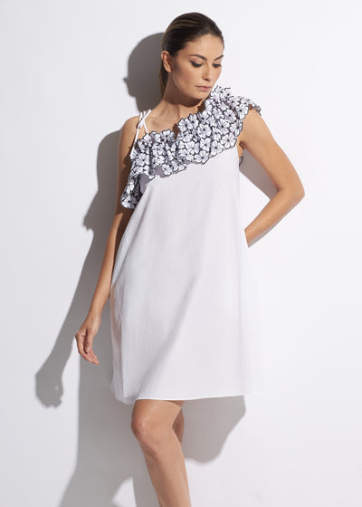 La Dolce Vita One Shoulder Midi Dress in White/Navy