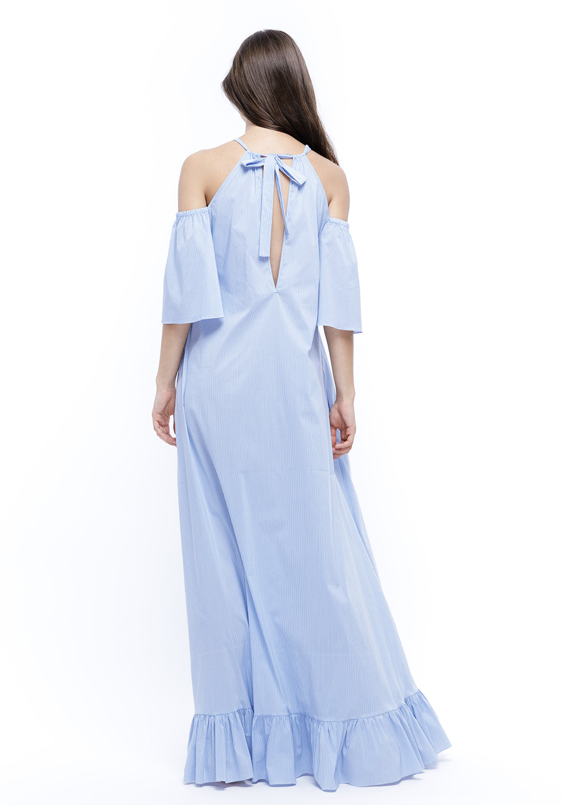 The Hamptons Long Dress in Vanilla/Aqua