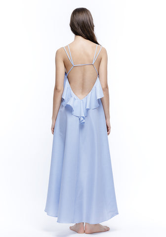 The Hamptons Open Back Long Dress in Vanilla/Aqua