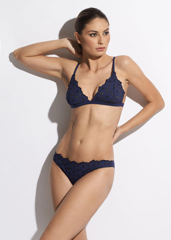 Malibu Sunshine Triangle Bikini Top in Navy