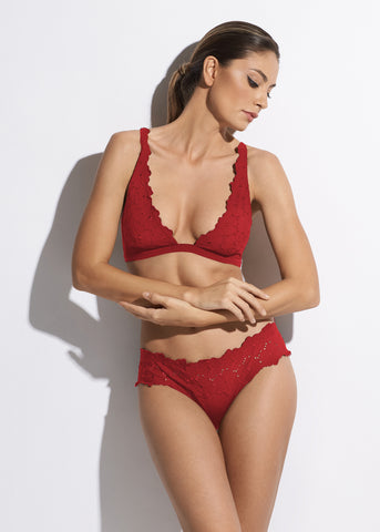 Malibu Sunshine Full Triangle Bikini Top in Red