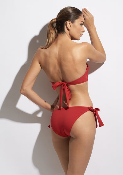 Malibu Sunshine Bikini Bottoms With Ties in Red
