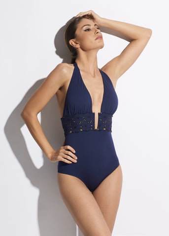 Midsummer Dream Swimsuit With Gold Ring in Cyclamen