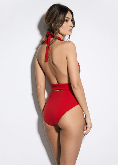 Malibu Sunshine V-Neck Swimsuit in Red