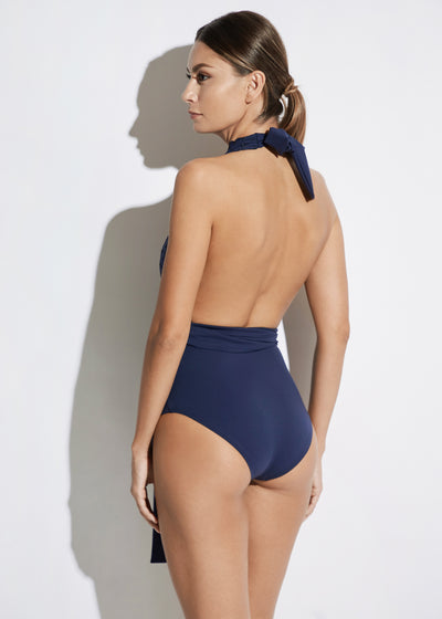 Malibu Sunshine V-Neck Swimsuit in Navy
