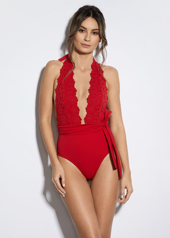 La Dolce Vita One Shoulder Swimsuit in White/Red