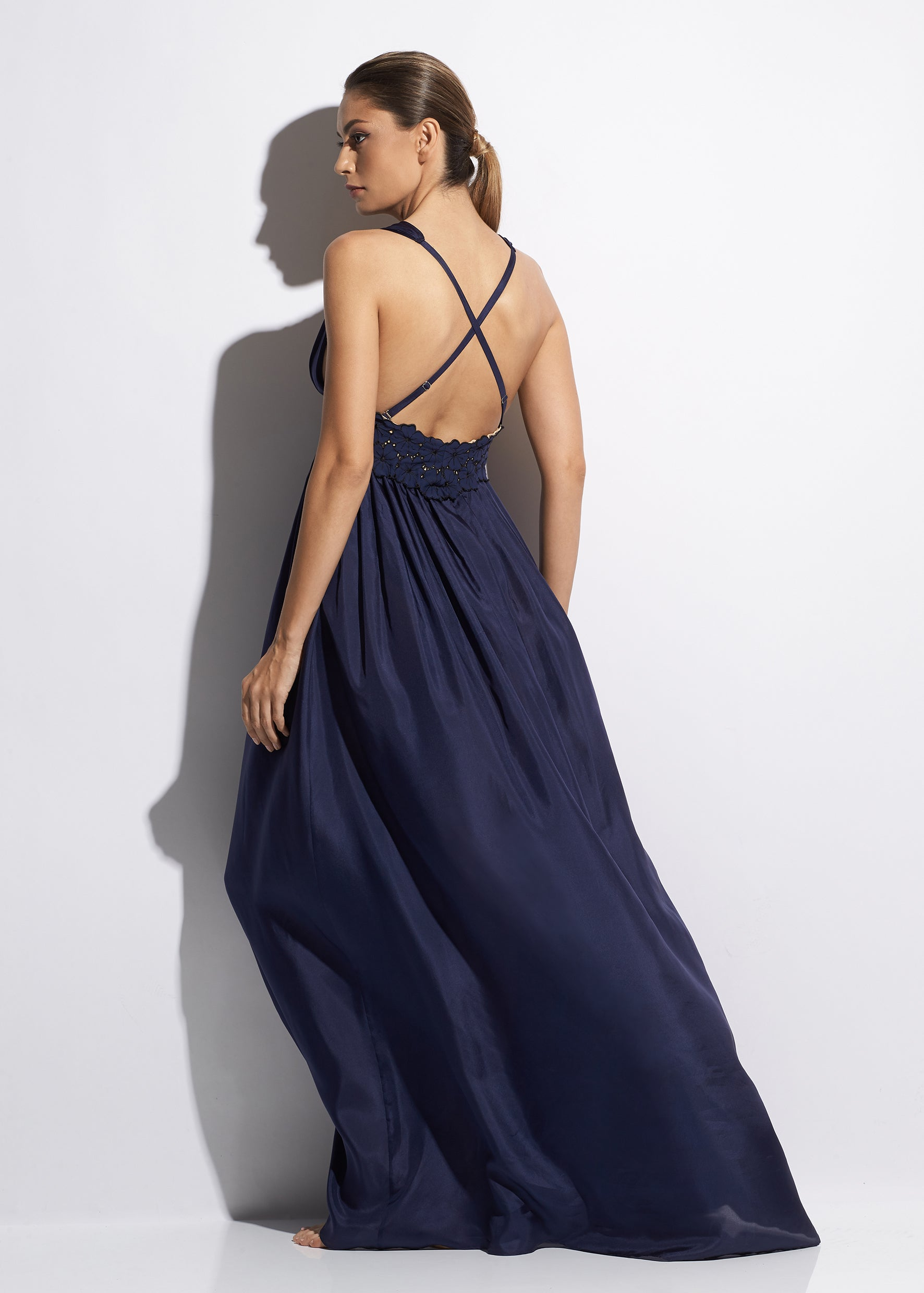 Malibu Sunshine Silk Long Dress in Navy