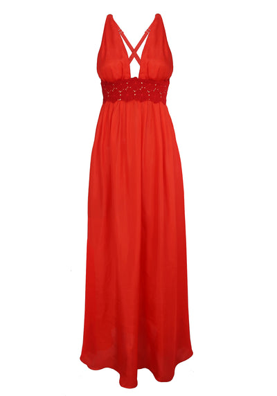 Malibu Sunshine Silk Long Dress in Red