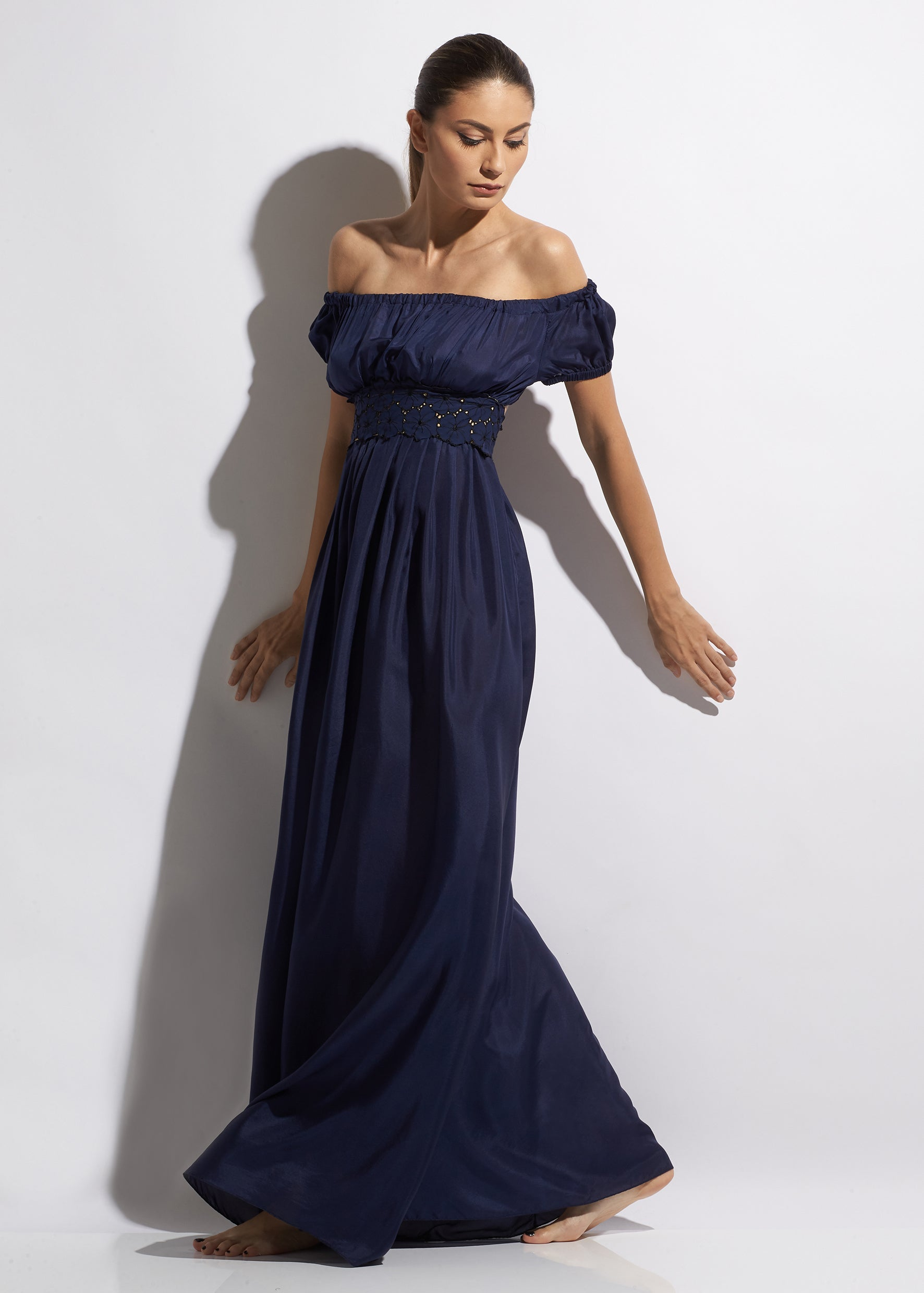 Malibu Sunshine Silk Off Shoulder Long Dress Navy