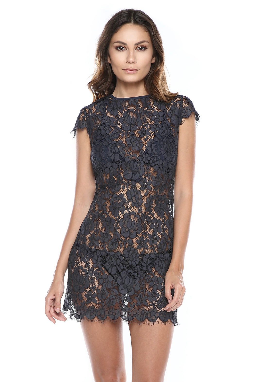 Loulou en Corse Mini Lace Dress in Marine