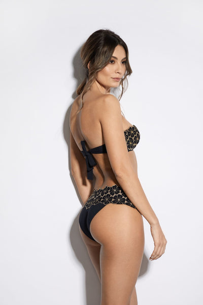 Soleil D'été Bikini Top in Black/Gold - I.D. Sarrieri