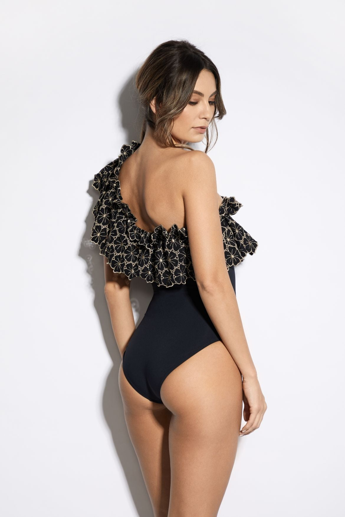 Soleil D'été One Shoulder Swimsuit in Black/Gold - I.D. Sarrieri