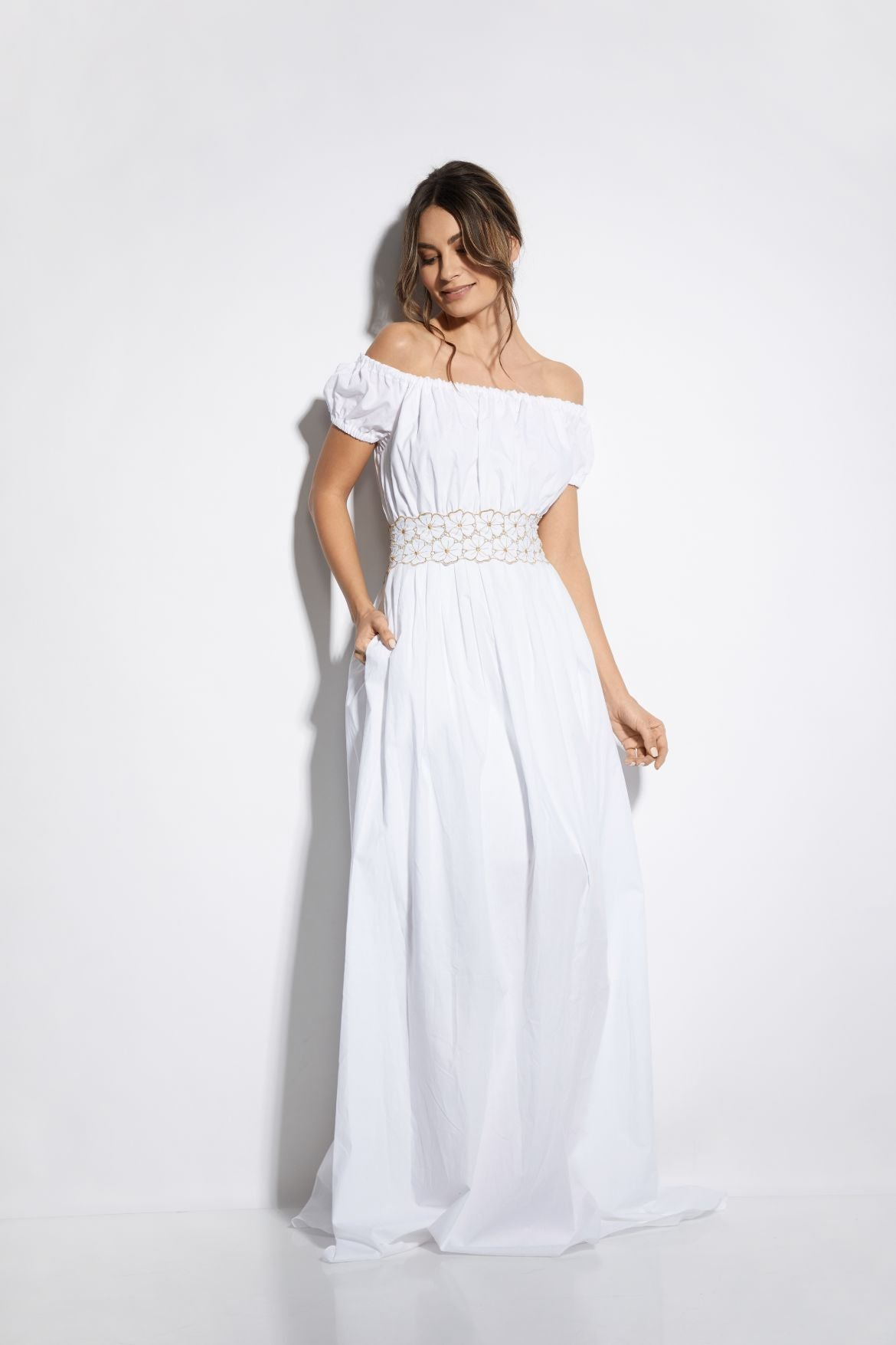 Soleil D'été Dress in White/Gold - I.D. Sarrieri