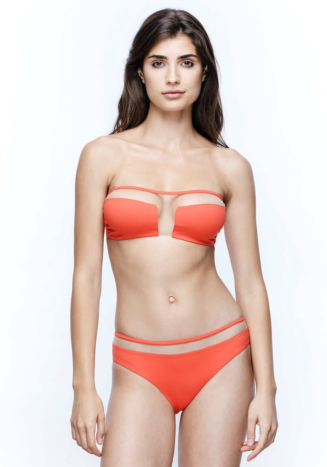 Sunrise in Seychelles Bandeau Bikini Top in Red Orange
