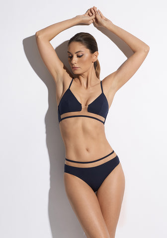 Voyage à St Tropez Racer Back Bikini Top in Black