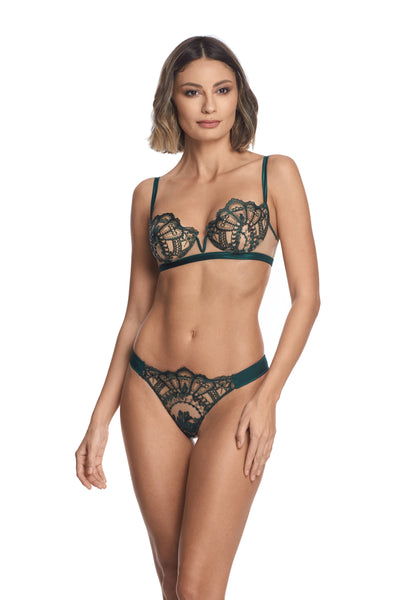 Petite Fleur Thong in Dark Green - I.D. Sarrieri