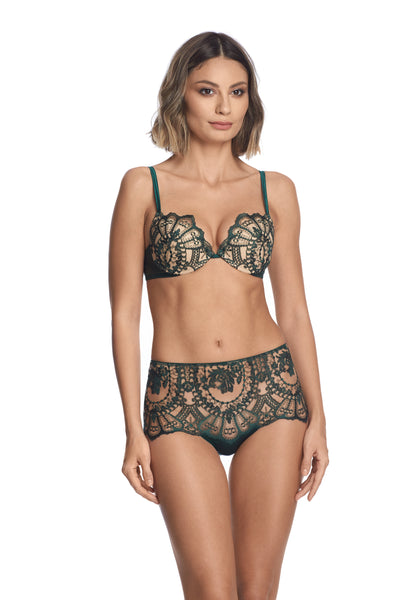 Petite Fleur High Waist Brief in Dark Green - I.D. Sarrieri