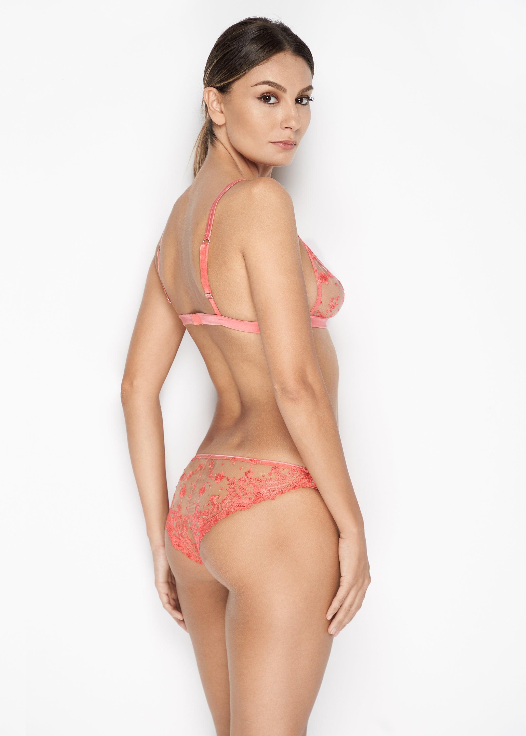 Annabelle Tulle Brazilian Briefs in Coral - I.D. Sarrieri