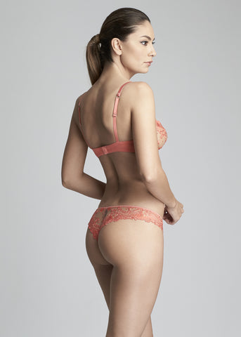 Annabelle Underwired Half Cup Bra in Coral