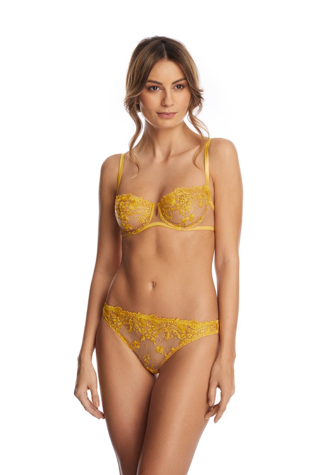 I.D. Sarrieri embroidered Balconette Bra in Sunflower