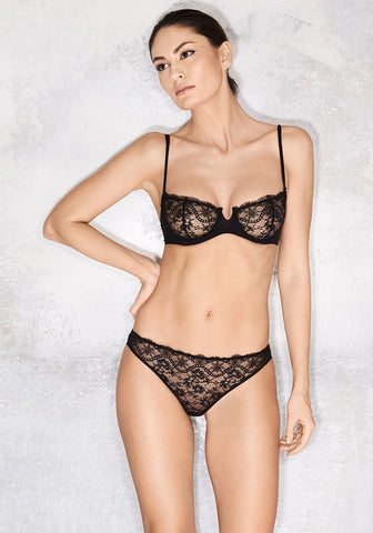 Clair de Lune Underwired Half Cup Bra in Midnight Blue
