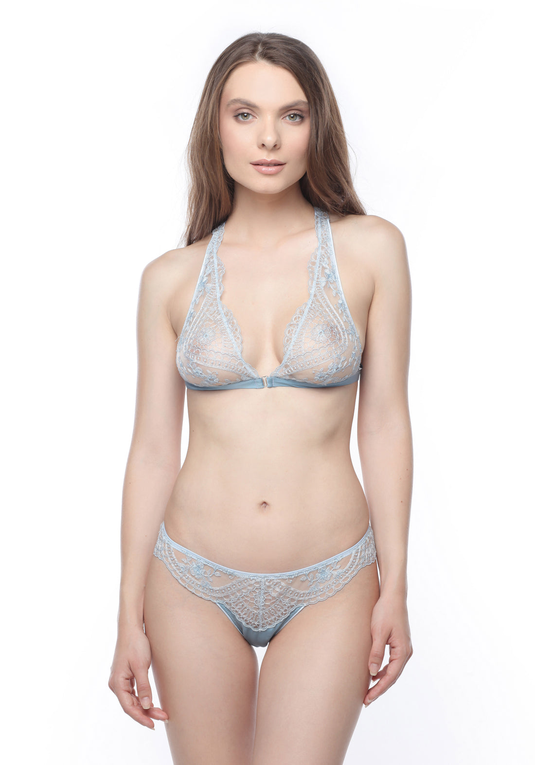 Célestine Racer Back Triangle Bra in Serenity Blue