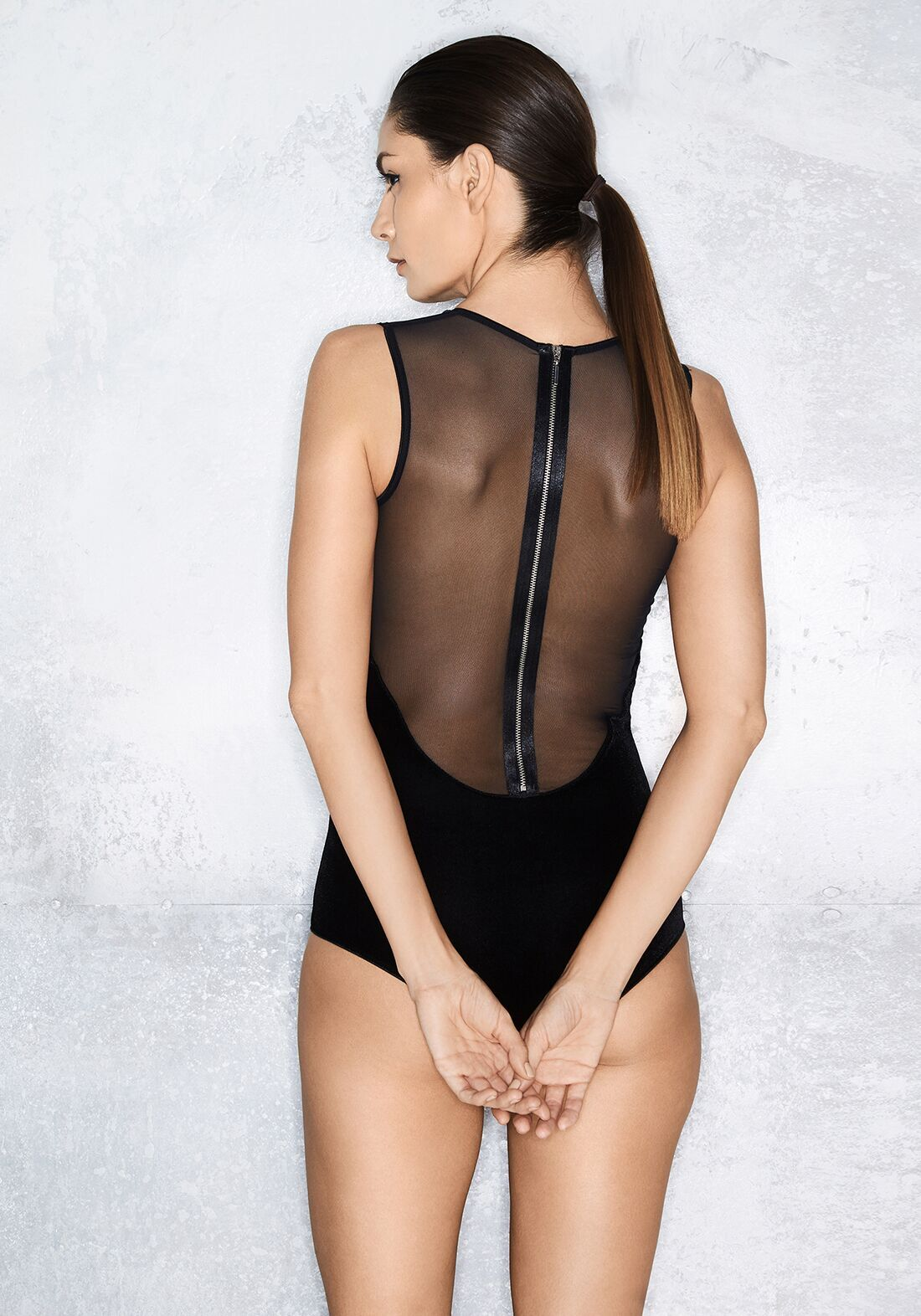 Nocturnelle Padded Half Cup Bodysuit in Noire