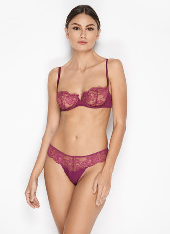 Moulin Rouge Ruffled Stretch-Tulle Briefs in Violet Sauvage