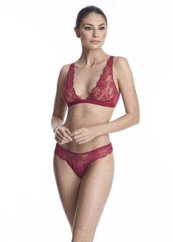 Endless Nights Brief With Embroidery Details in Purple Plum